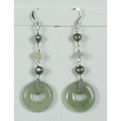 Orecchini Pendenti Phi di New Jade e perle naturali
