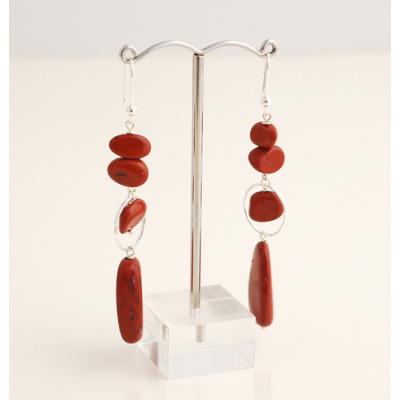 Orecchini Pendenti di Diaspro Rosso e Ag 925