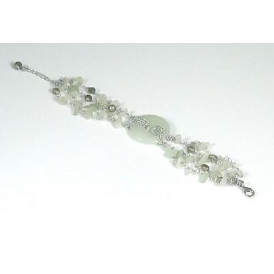 Bracciale Phi di New Jade, Perle d'Acqua Dolce e Ag 925