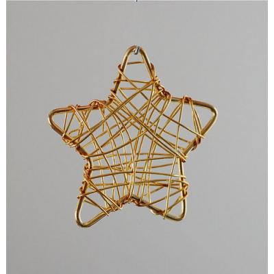 Pendente a forma di stella a ragnatela di fili color Oro 3.7x3.7 - 1 pz.