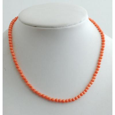 Collana Corta a Sfere di Corallo Rosa canna di Bambù