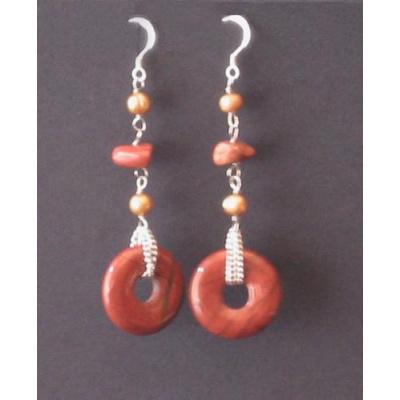 Orecchini Pendenti Phi di Diaspro Rosso e Perle naturali