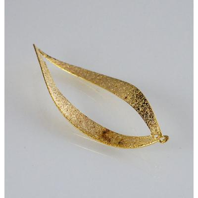 Pendente a foglia diamantata color Oro 5.5x2.5 - 2 pz.