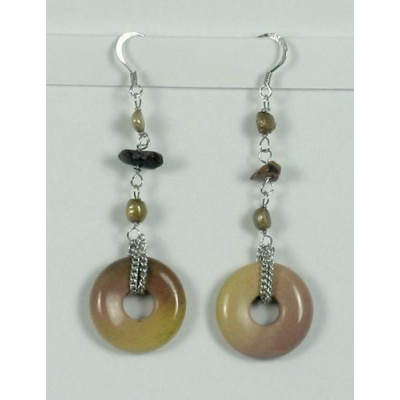 Orecchini Pendenti Phi di Mokaite e perle naturali
