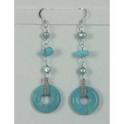 Orecchini Pendenti Phi di  Magnesite Colorata e perle naturali