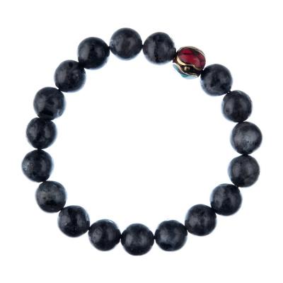 Bracciale Labradorite con elemento tibetano, elastico, sfere 10mm
