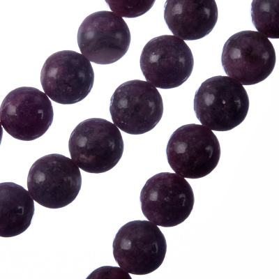 Lepidolite - Filo di sfere lisce da 10mm