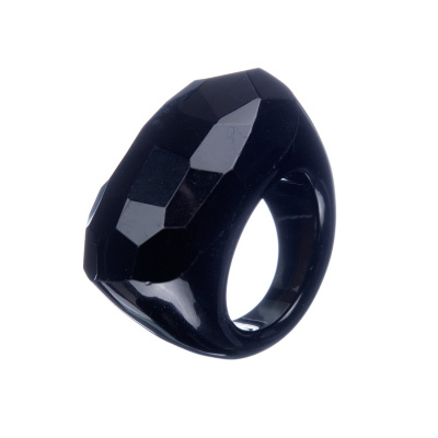 Anello All Stone in Onice Nera - Sfaccettato