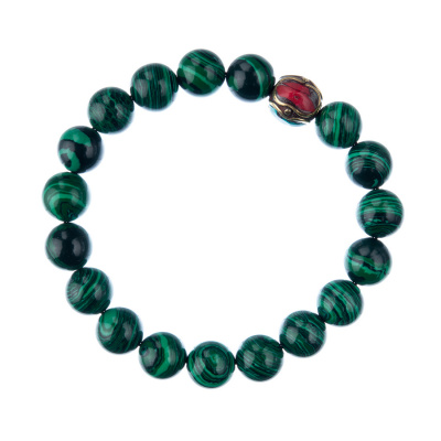 Bracciale Malachite Sintetica con elemento tibetano, elastico, sfere 10mm