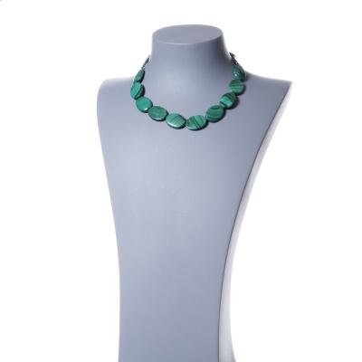 Collana Corta Ovale di Malachite e Argento 925