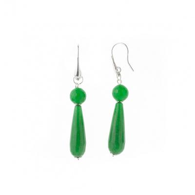 Orecchini Pendenti in Agata verde sfaccettata e Ag 925