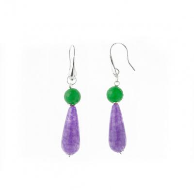 Orecchini Pendenti in Agata viola e verde sfaccettate con Ag 925