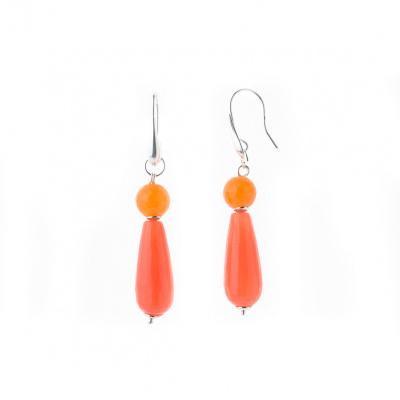 Orecchini Pendenti in Agata arancio sfaccettata e Ag 925