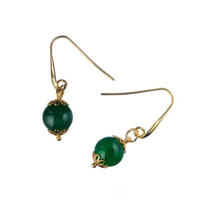 Orecchini in Agata Verde e Argento dorato 925, sfere 10mm