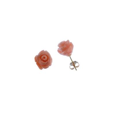 Orecchini con Fiore di Corallo rosa e Oro 18k