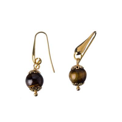 Orecchini in Occhio Di Tigre e Argento dorato, sfere 10mm