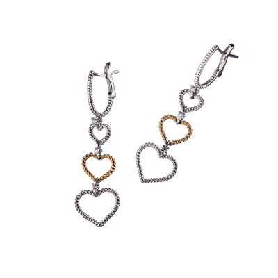 "Orecchini ""Love"" in Oro 18k con Diamanti 0.07 ct."