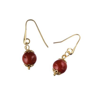 Orecchini in Diaspro Rosso e Argento dorato 925, sfere 10mm