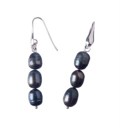 Orecchini di Perle nere d'Acqua dolce e Ag 925