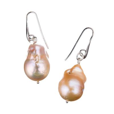 Orecchini in Perle Barocche rosate e Argento 925