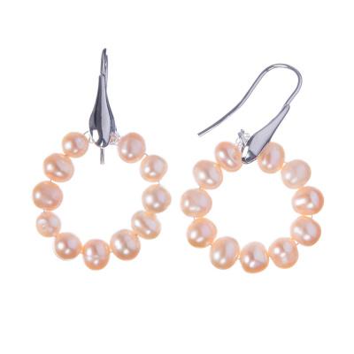 Orecchini di Perle rosa e Ag 925