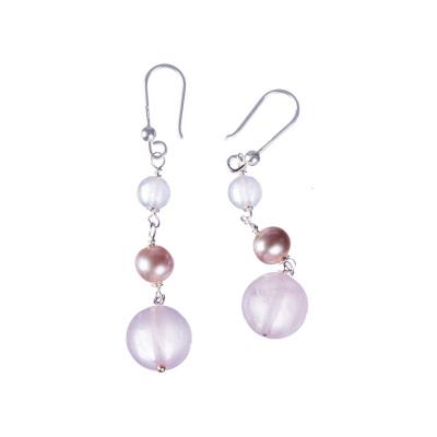 Orecchini di Quarzo Rosa, Perle e Argento 925