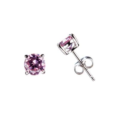 Orecchini con Zirconi rosa e Argento 925 - 0.6 cm