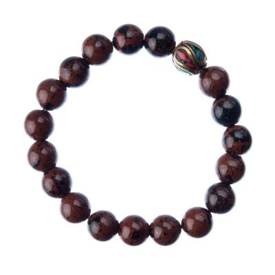 Bracciale Ossidiana Marrone con elemento tibetano, elastico, sfere 10mm