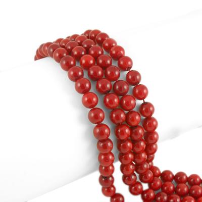 Corallo Bambù Rosso - Filo di sfere lisce da 14mm