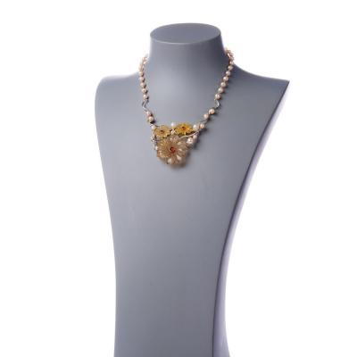 Collana Perle Rosa, Fiori in Agata e Ag 925