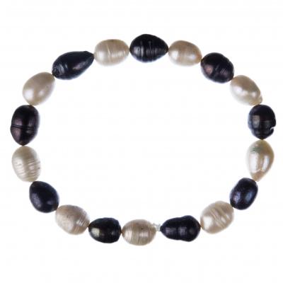 Bracciale di Perle bianche e nere d'Acqua dolce