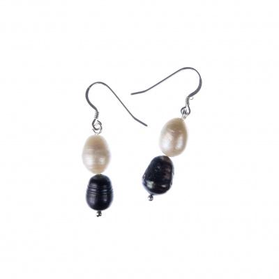 Orecchini di Perle bianche e nere d'Acqua dolce e Argento 925