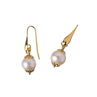 Orecchini in Perle e Argento dorato, sfere 10mm
