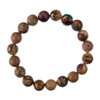 Bracciale Pietra Paesina con elemento tibetano, elastico, sfere 10mm