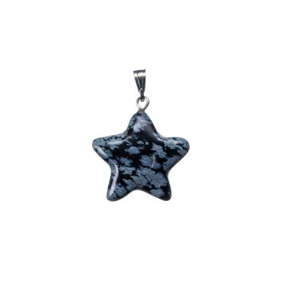Ciondolo a stella in Ossidiana Fiocco di Neve