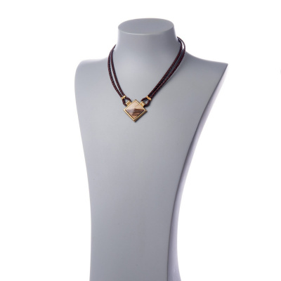 Collana con pendente di Paesina e metallo dorato