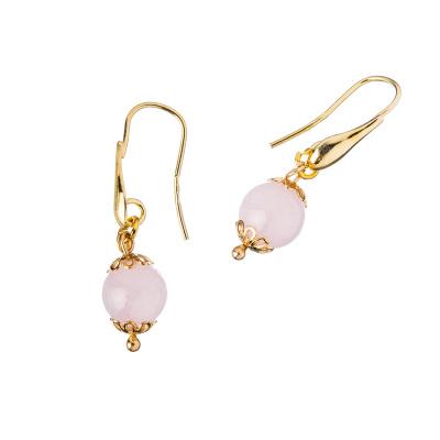 Orecchini in Quarzo Rosa e Argento dorato, sfere 10mm