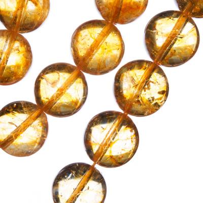 Quarzo Citrino - Filo di sfere lisce da 14mm