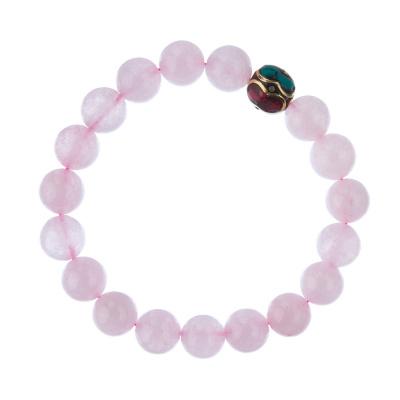 Bracciale Quarzo Rosa con elemento tibetano, elastico, sfere 10mm