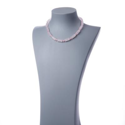 Collana con elementi cilindrici di Quarzo Rosa