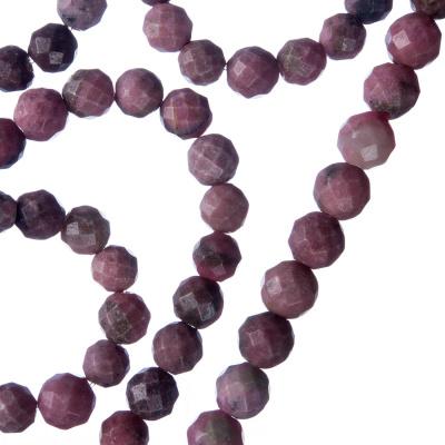 Rodonite - Filo di sfere sfaccettate da 6mm