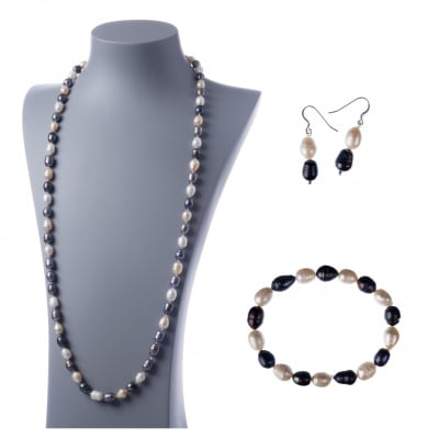 Parure di Perle d'Acqua dolce - Bianche, Nere e Rosa