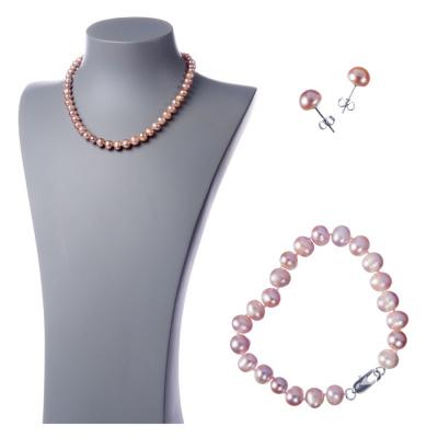 Parure di Perle grigio-rosate
