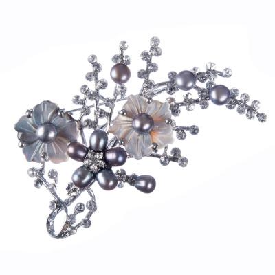 Spilla di Perle grigie, Madreperla e Strass