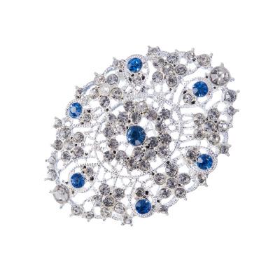 Spilla Ovale di Strass bianchi e azzurri in Lega metallica