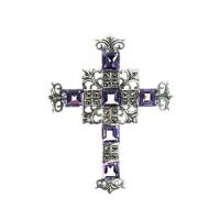 Ciondolo a Croce di Ametista, Marcasiti e Argento 925