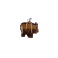 Ciondolo animale Unisex in Occhio di Tigre - Elefante