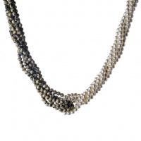 Collana Torchon 6 fili di Perle Bianche, Diaspro Dalmata e Argento 925