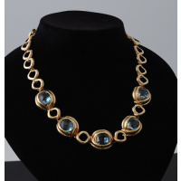 Collana Corta di Topazi Azzurri e Oro