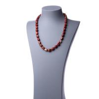 Collana lunga in Diaspro Rosso e Argento - 60 cm